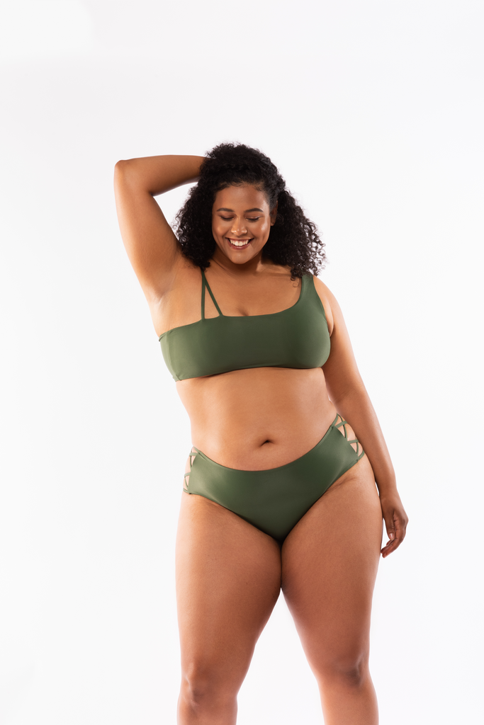 Olive swim bottom with exposed strappy side details.