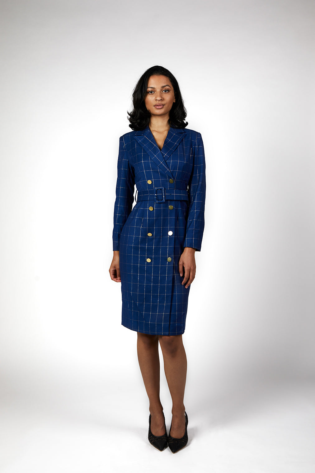 Meliora Pinstripes Blue Presidential Blazer Dress