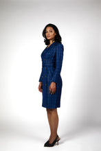 Load image into Gallery viewer, Meliora Pinstripes Blue Presidential Blazer Dress