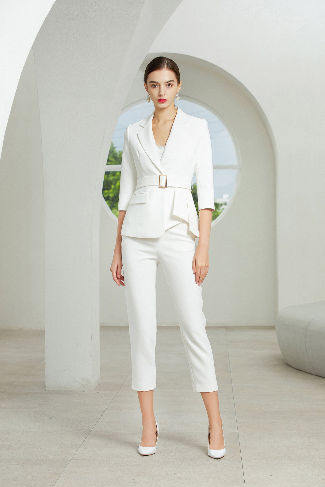 Meliora  White Three-Quarter Sleeve Trouser Suit