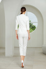 Load image into Gallery viewer, Meliora  White Three-Quarter Sleeve Trouser Suit