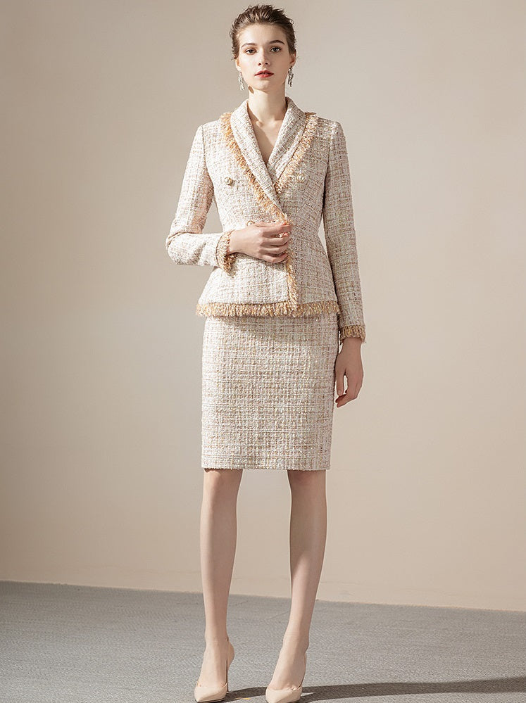 Meliora Cream Tweed Baroness Skirt Suit