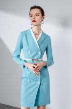 Load image into Gallery viewer, Meliora Turquoise Belted Blazer Dress