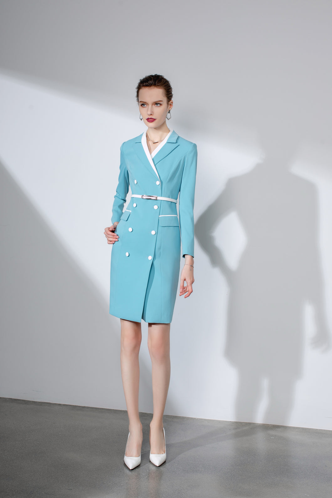 Meliora Turquoise Belted Blazer Dress