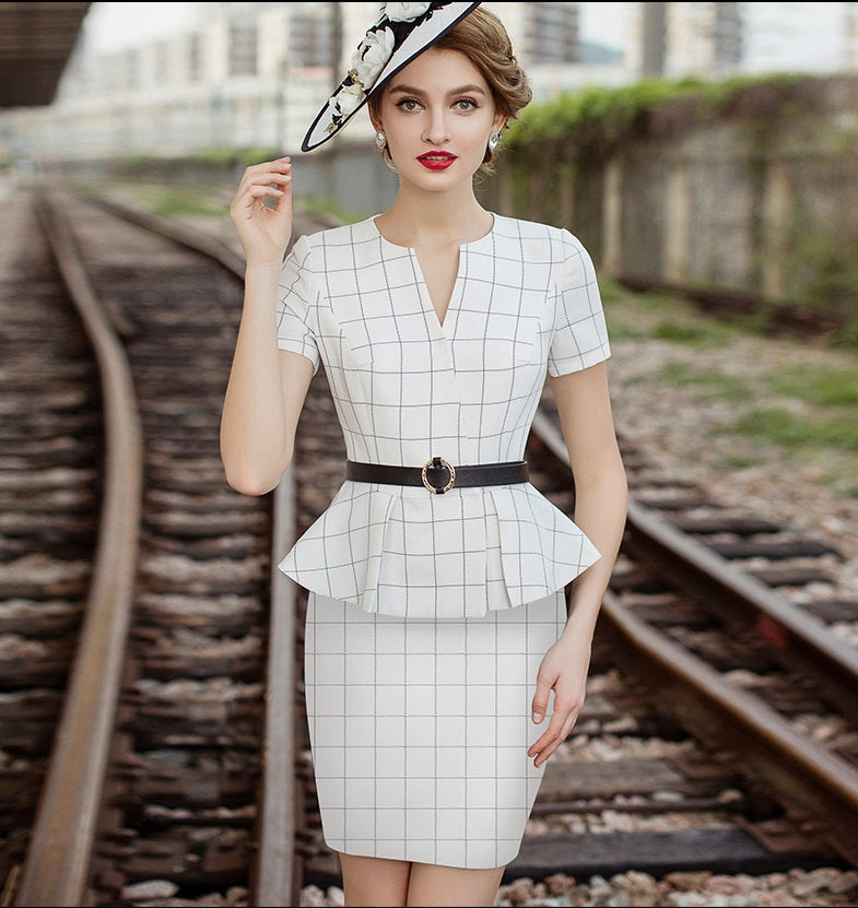 Meliora Grid Checkered Skirt Suit