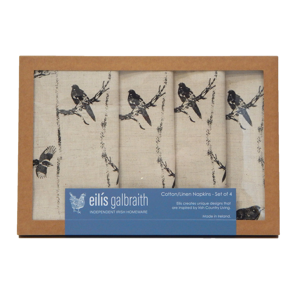 Eilis Galbraith Set of 4 Cotton/Linen Birds in Branches Napkins