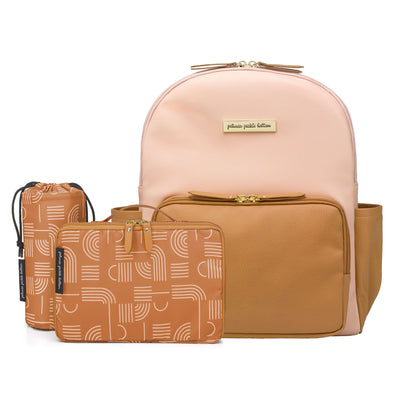District Backpack 5-Piece Set in Blush/Camel-Diaper Bags-Petunia Pickle Bottom