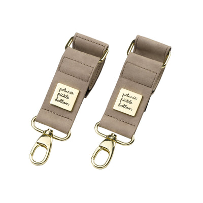 Valet Stroller Clips in Grey Matte Leatherette-Essentials-Petunia Pickle Bottom