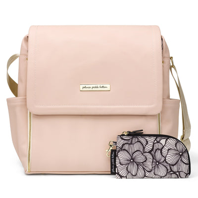 Boxy Backpack in Blush Leatherette-Diaper Bags-Petunia Pickle Bottom
