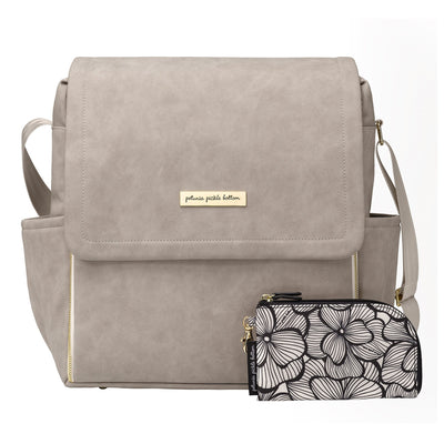 Boxy Backpack in Grey Matte Leatherette-Diaper Bags-Petunia Pickle Bottom