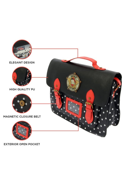 Betty Boop Satchel ,Flaunt in style with the Betty Boop Police Satchel bag. Black colour bag with small white star all over with a red shoulder strap and two front straps with magnetic closure. It has a police logo attached in front saying Boop Patrol. Exclusively Available at Reliance Gifts www.reliancegifts.co.uk