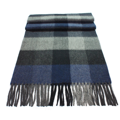 Pure Cashmere Scarf, Blue/Grey
