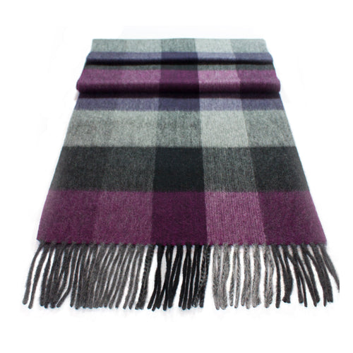 Pure Cashmere Scarf, Purple/Grey