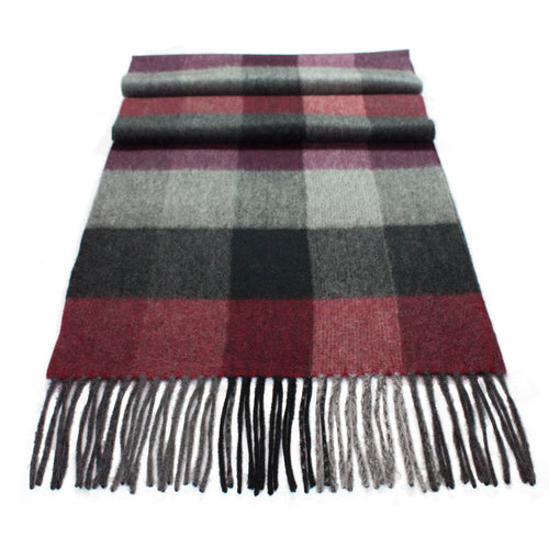 Pure Cashmere Scarf, Burgundy/Grey