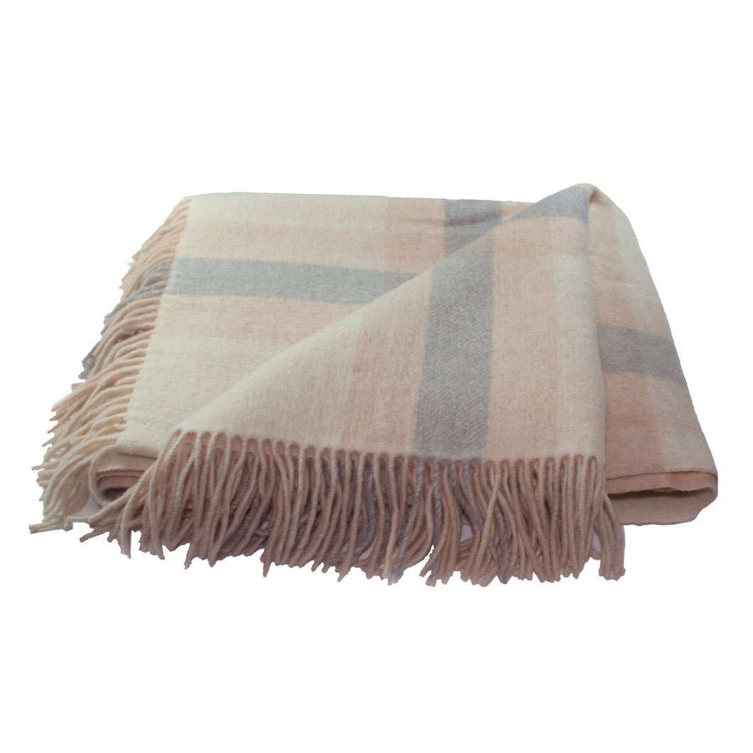Wool Blanket/ Throw, Plaid, Ivory/beige