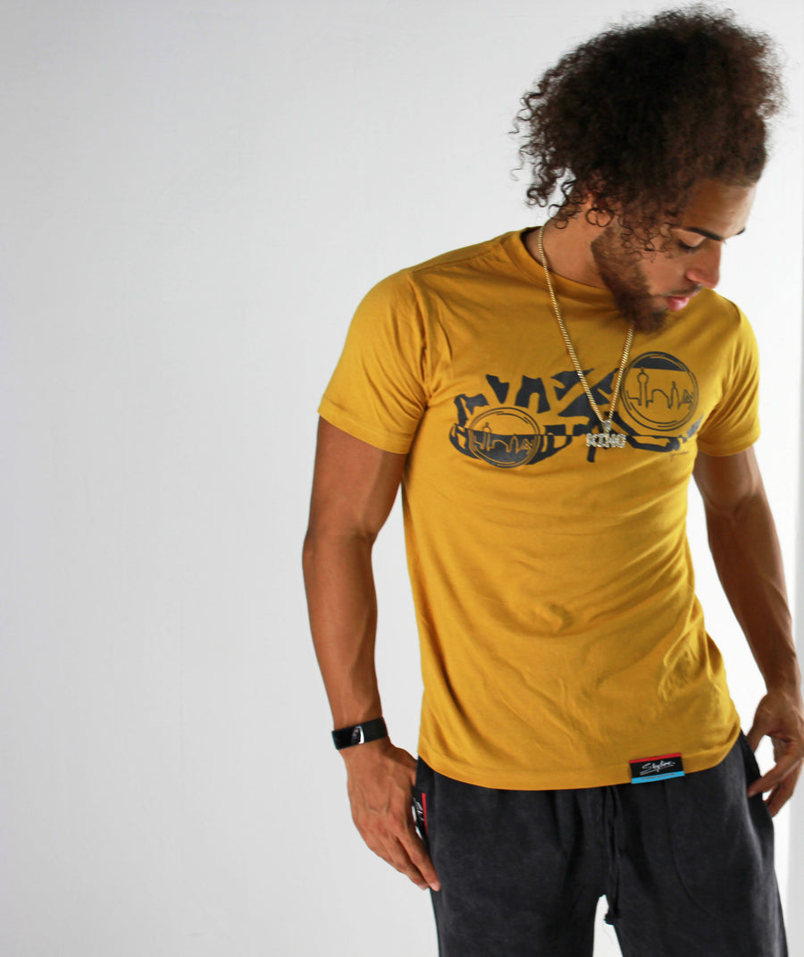 Men's Mustard T-Shirt Skyline Hoodies