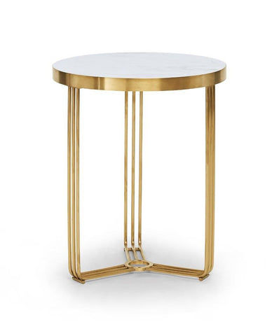 Gillmore Finn Collection Circular Side Table with Brushed Brass Frame
