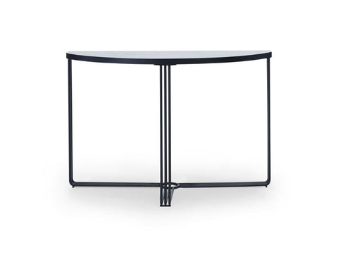 Gillmore Finn Collection Demi Lune Console Table with Matt Black Frame