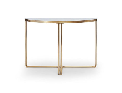 Gillmore Finn Collection Demi Lune Console Table with Brushed Brass Frame