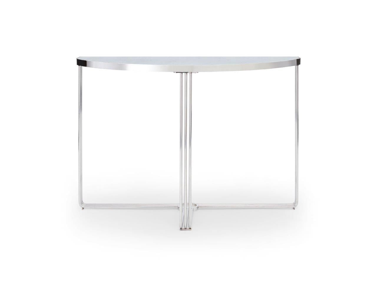 Gillmore Finn Collection Demi Lune Console Table with Polished Chrome Frame