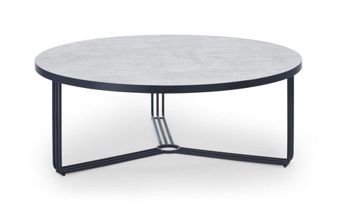 Gillmore Finn Collection Large Circular Coffee Table with Matt Black Frame