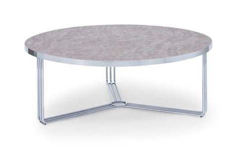 Gillmore Finn Collection Large Circular Coffee Table with Chrome Frame