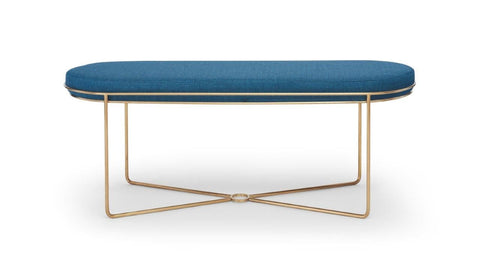 Gillmore Finn Collection Ottoman with Upholstered Top and Brushed Brass Frame