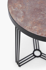 Gillmore Finn Collection Circular Side Table with Matt Black Frame