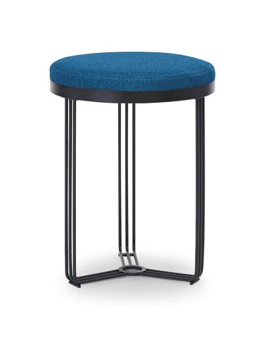 Gillmore Finn Collection Circular Side Table/Stool with Upholstered Top and Matt Black Frame