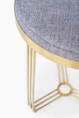 Gillmore Finn Collection Circular Side Table/Stool with Upholstered Top and Brushed Brass Frame