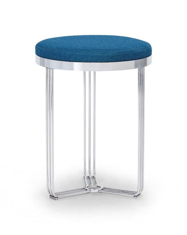 Gillmore Finn Collection Circular Side Table/Stool with Upholstered Top and Polished Chrome Frame