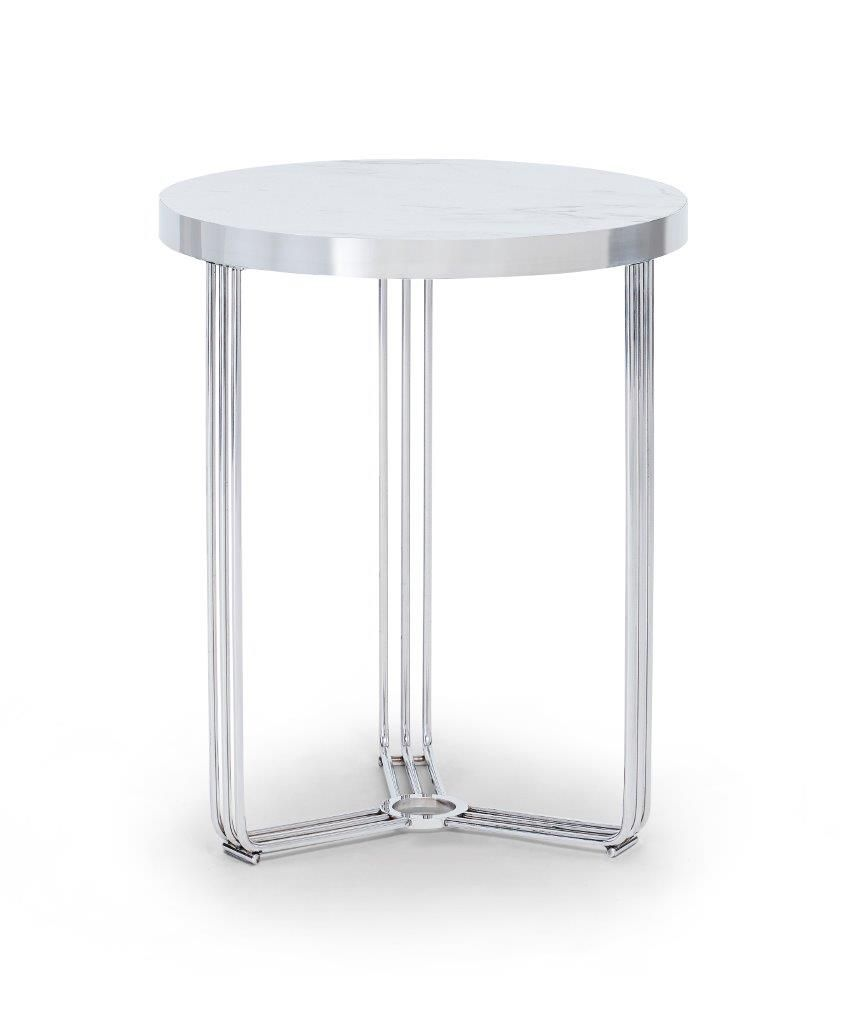 Gillmore Finn Collection Circular Side Table with Polished Chrome Frame