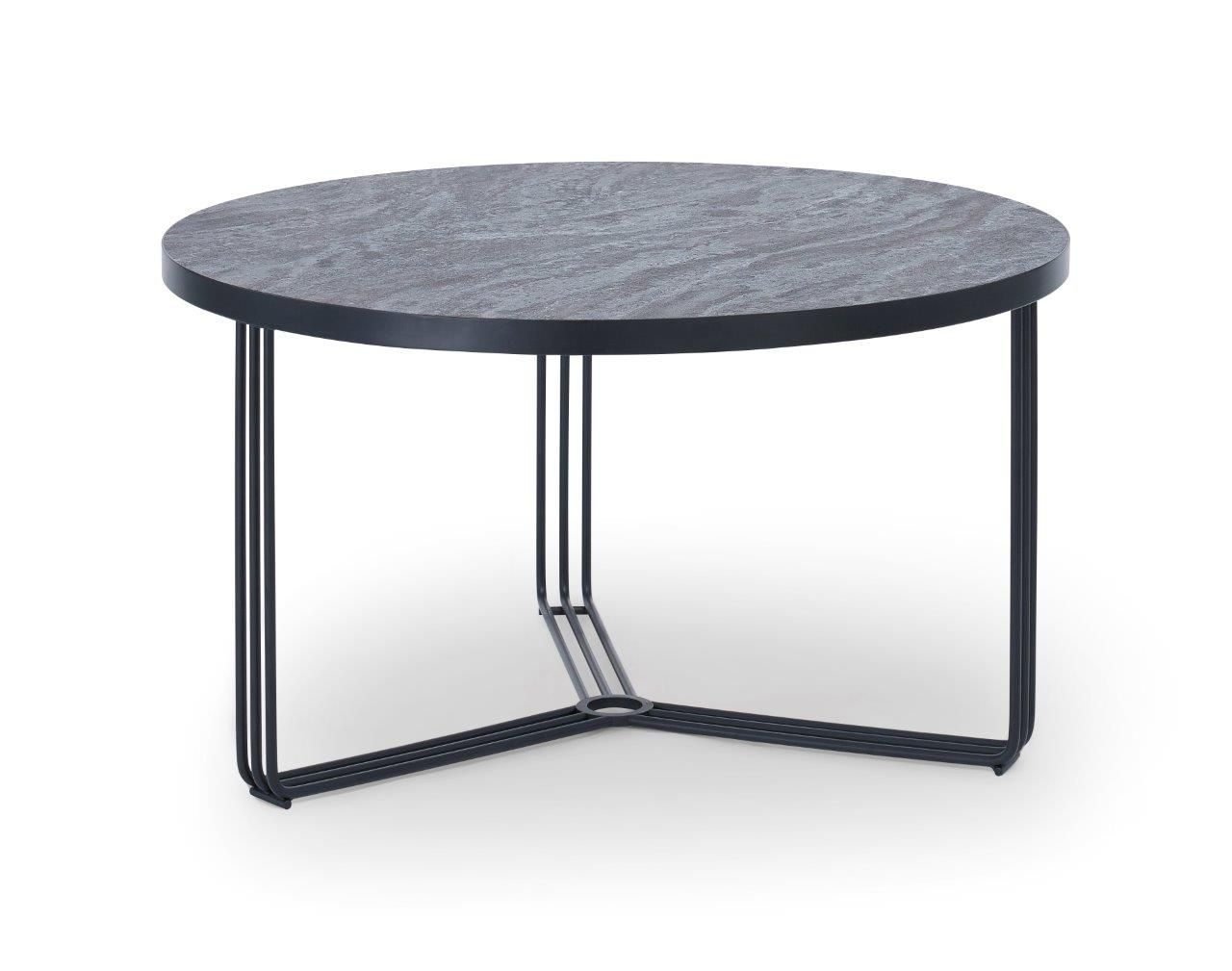 Gillmore Finn Collection Small Circular Coffee Table with Matt Black Frame