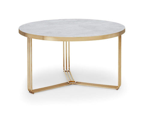Gillmore Finn Collection Small Circular Coffee Table with  Brass Frame