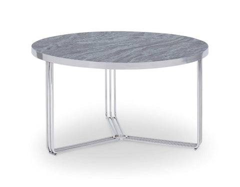 Gillmore Finn Collection Small Circular Coffee Table with Polished Chrome Frame
