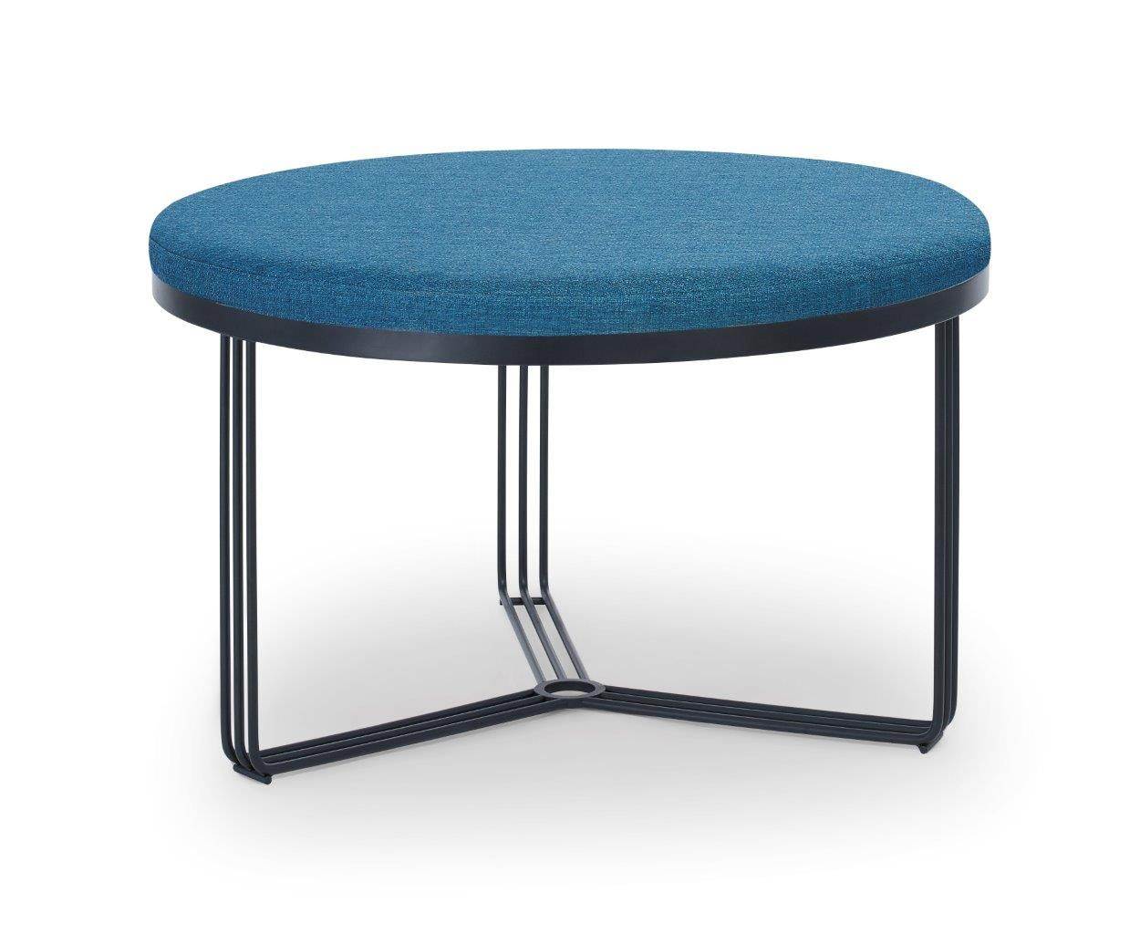 Gillmore Finn Collection Small Circular Coffee Table/Footstool with Upholstered Top and Matt  Black Frame