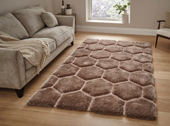 Think Rugs Hand Tufted Shaggy Collection - Noble House NH 30782 Beige