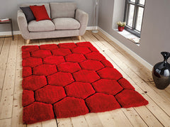 Think Rugs Hand Tufted Shaggy Collection - Noble House NH 30782 Red/Black