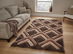 Think Rugs Hand Tufted Shaggy Collection - Noble House NH 8199 Brown
