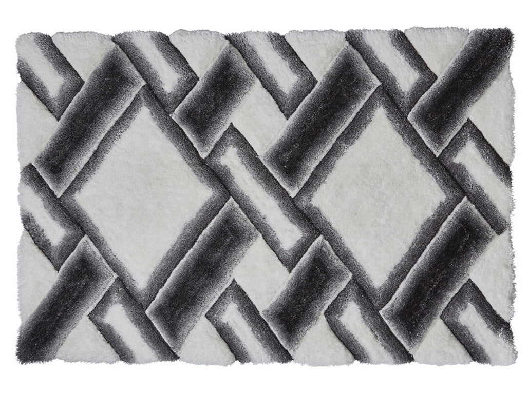 Think Rugs Hand Tufted Shaggy Collection - Noble House NH 9716 Grey/Ivory
