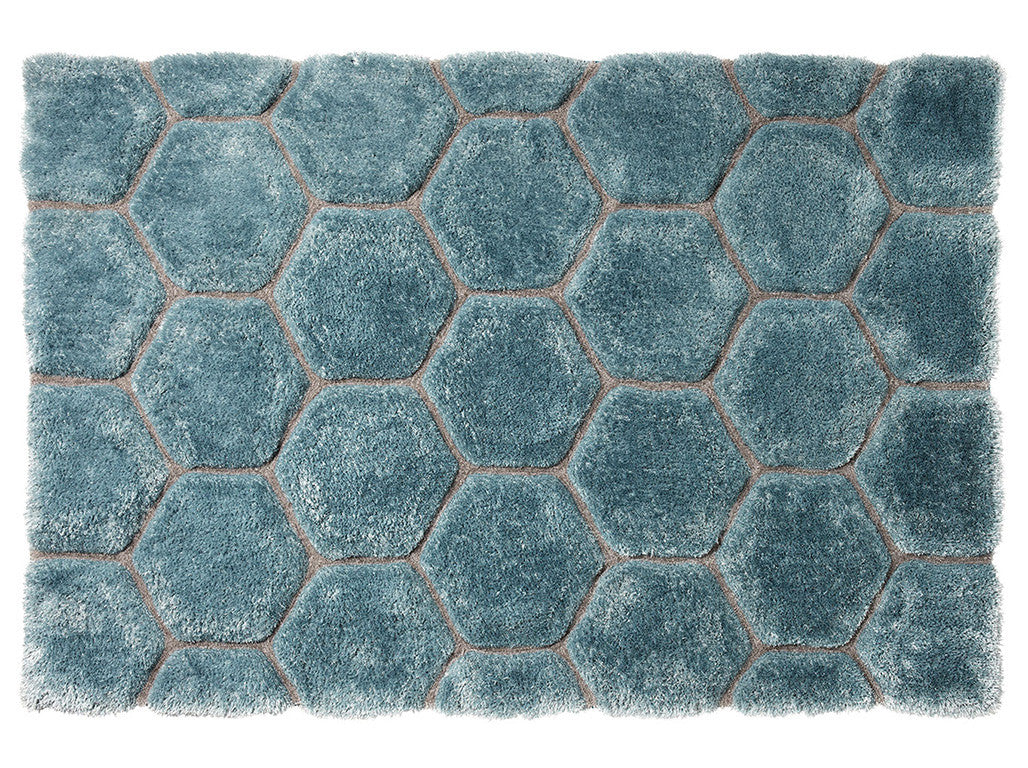 Think Rugs Hand Tufted Shaggy Collection - Noble House NH 30782 Blue