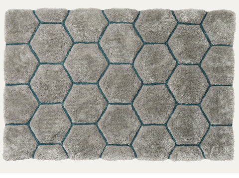 Think Rugs Hand Tufted Shaggy Collection - Noble House NH 30782 Grey/Blue