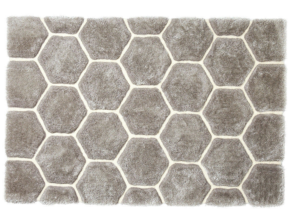 Think Rugs Hand Tufted Shaggy Collection - Noble House NH 30782 Grey/White