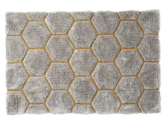 Think Rugs Hand Tufted Shaggy Collection - Noble House NH 30782 Grey/Yellow