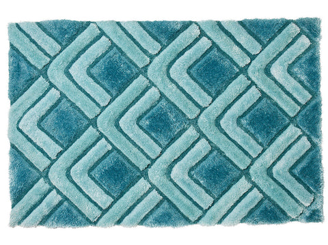 Think Rugs Hand Tufted Shaggy Collection - Noble House NH 8199 Blue
