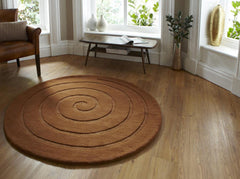 Think Rugs Hand Tufted Wool Collection - Spiral Brown