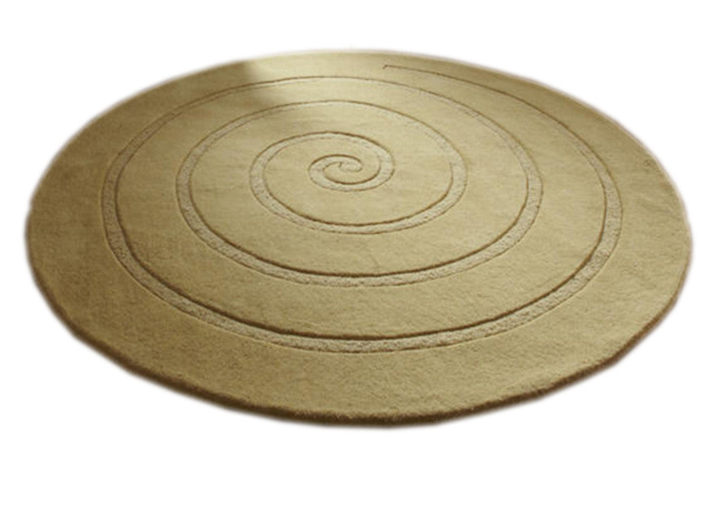 Think Rugs Hand Tufted Wool Collection - Spiral Gold