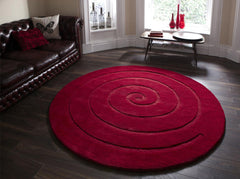 Think Rugs Hand Tufted Wool Collection - Spiral Red