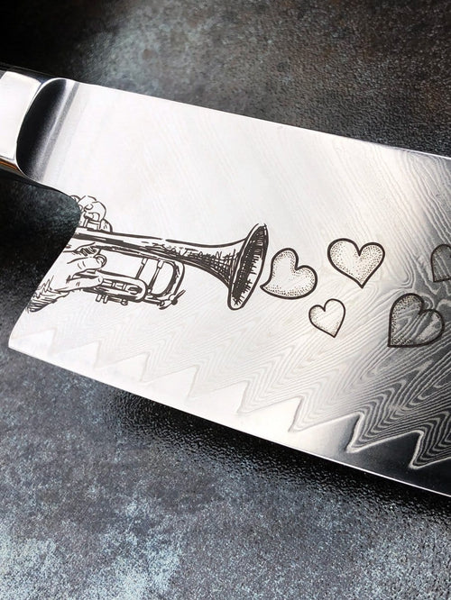 DAMASCUS Bowie Chef® Engraved Series (Love Song)