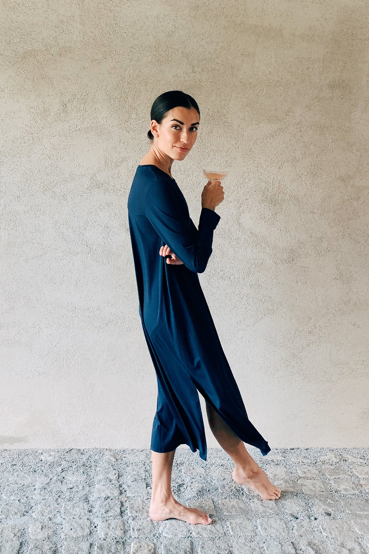 Bamboo Long Sleeve Lounge Dress in Navy